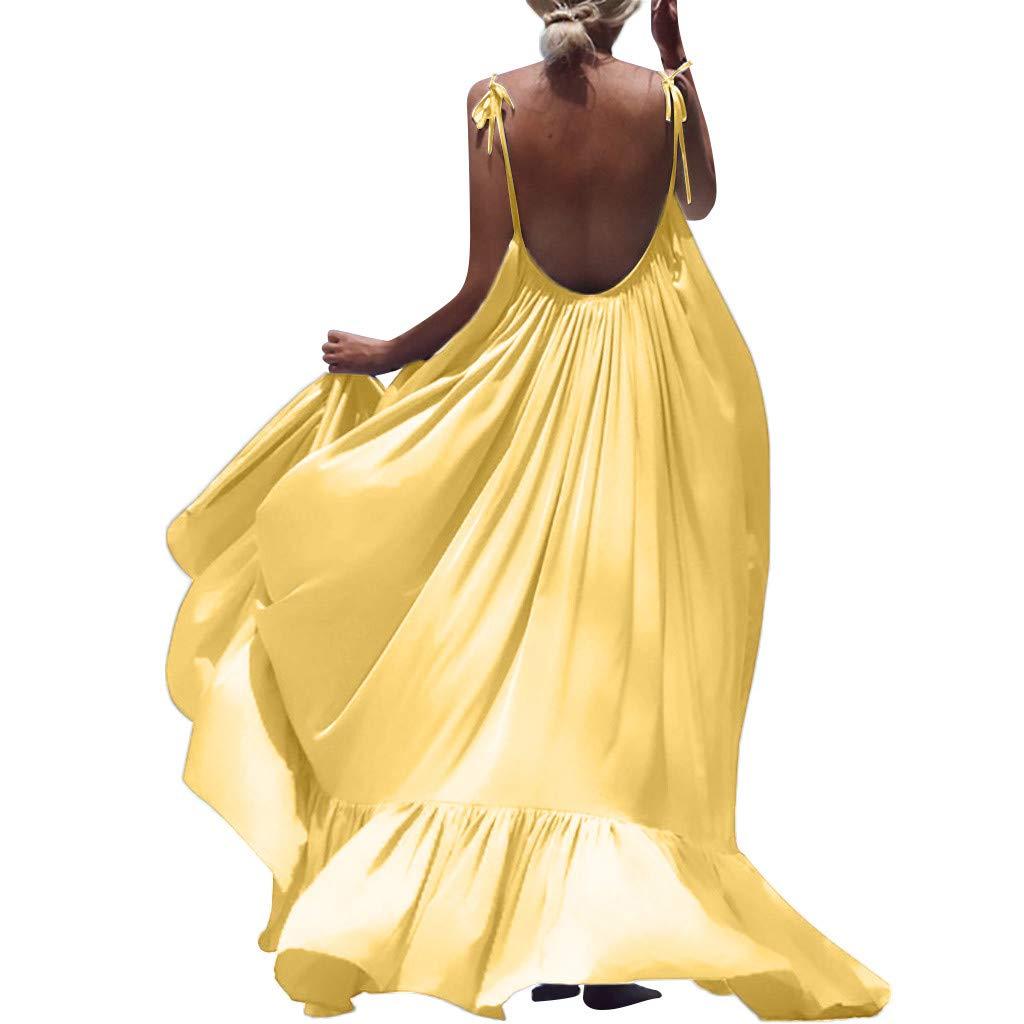 Winsummer Women's Strappy Backless Beach Maxi Dress Evening Party Long Dress Summer Sundress Yellow