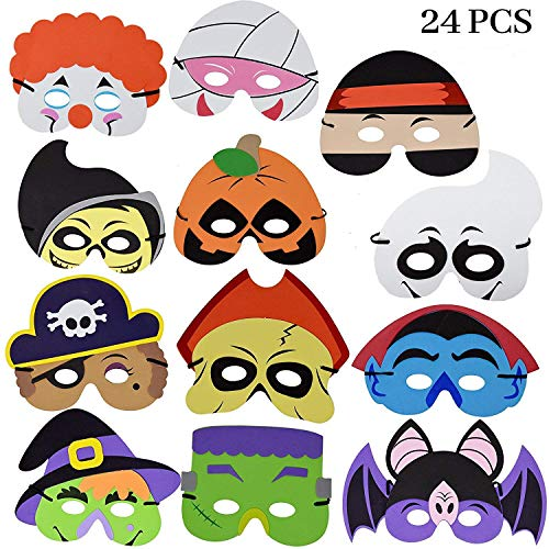 JOYIN 24 Pieces Halloween Foam Mask for Kids Halloween Party Favors, Halloween Crafts Supplies and Halloween Prizes