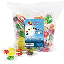 Lollipops, Classic Flat Pops, Assorted Flavors, 4 LB Bulk Candy