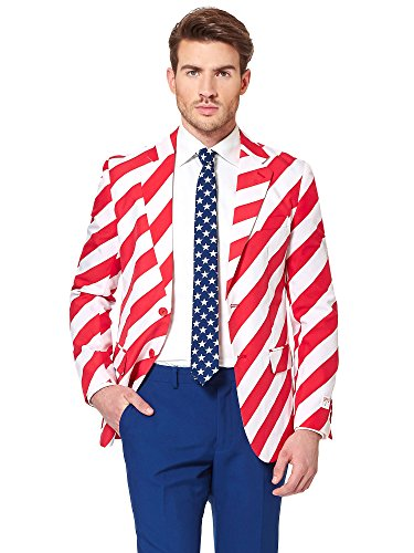 Opposuits American Flag Suit for Men USA Outfit for The 4th of July with Pants, Jacket and Tie,United Stripes,40