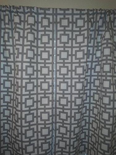grey-geometric-trellis-grey-white-square-shapes-2-panels-tiers-window-kitchen-bath-laundry-basement-