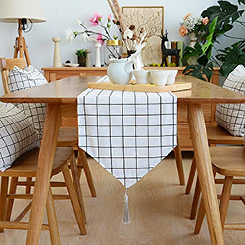 US-ROGEWIN Table Runner High Grade Linen Cotton Reusable Washable Tassel Coffee Dinning Room House Decoration Bed Flag]()