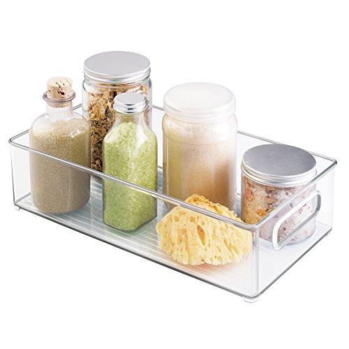 mDesign Plastic Storage Bin with Handles for Organizing Hand Soaps, Body Wash, Shampoos, Lotion, Conditioners, Hand Towels, Hair Accessories, Body Spray, Mouthwash - 14.5 Long - Clear
