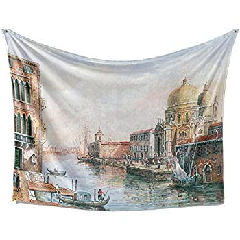 SimbaDeco Tapestry Medieval Cities and Countries Italian Venice City Bay Oil Painting Boat Fishman Vintage Old Buildings Fabric Wall Hangings Tapestry for Bedroom 84x59 Inch White