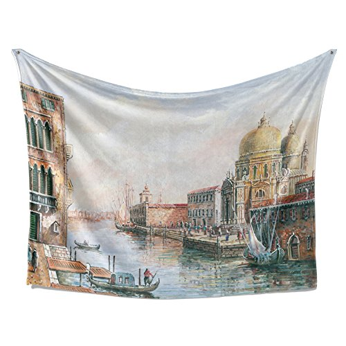 (SimbaDeco Tapestry Medieval Cities and Countries Italian Venice City Bay Oil Painting Boat Fishman Vintage Old Buildings Fabric Wall Hangings Tapestry for Bedroom 84x59 Inch White)