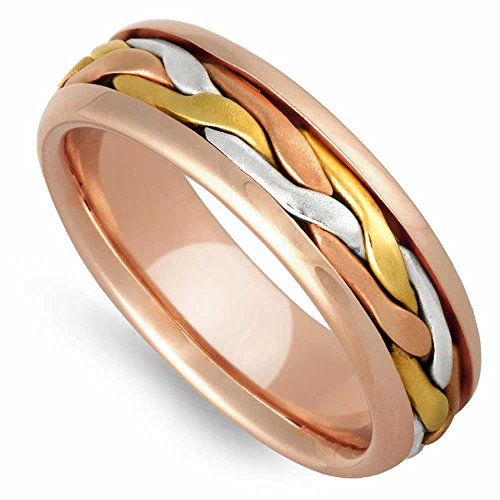 14K Tri Color Gold Braided French Braid Women's Comfort Fit Wedding Band (7mm) Size-8c1 ()