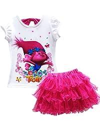 Trolls Little Girls' 2Pcs Suit Cartoon Shirt and Skirt Set