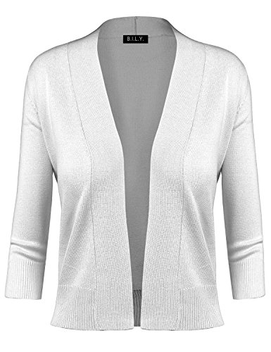 BH B.I.L.Y USA Women's Classic Open Front Cropped Cardigan White Medium