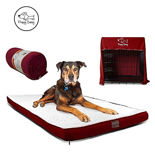 Top Dawg Pet Supply Mat (Floppy Dawg Gel Memory Foam Dog Bed and Crate Cover Blanket Bundle, Removable Cover, Waterproof Liner, Fits 42 Inch Crates. Royal Red Suede and Fleece with White Sherpa Top.)