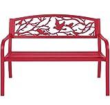 Garden Park Patio Bench Patio Furniture Outdoor Living Rose Red Steel + eBook