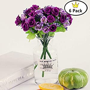 S.Ena, 7 Branch 21 Heads Artificial Silk Fake Flowers Leaf Little Rose Wedding Floral Home Decor Bouquet Birthday Party DIY, Pack of 6 (Purple) 2