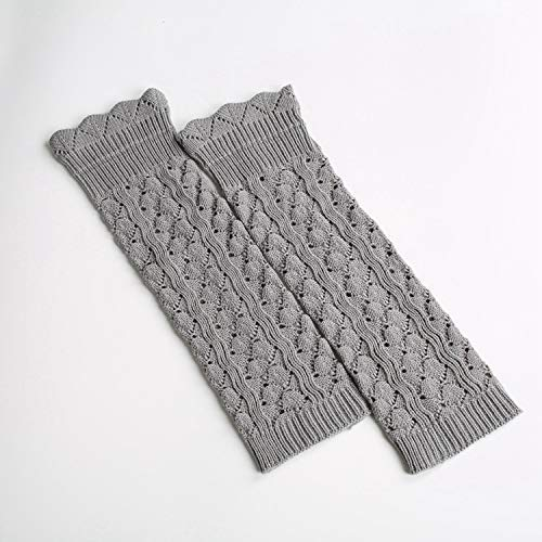 (Winter Women Girls Europe and the United States Knitted Japan and South Korea socks piles of socks like lace long section to pick up the hole leggings foot cover (Color : Light grey) Leg Warmers)