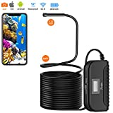 Endoscope Camera Wireless, Ø0.22inch, HD 3MP, IP68 Waterproof, 2800mAh Rechargeable, Zoom, 360°Rotatable View, Flexible Cable with Case for iOS & Android Smartphone, iPhone, Samsung etc. (33FT)