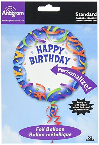 Anagram International Happy Birthday Streamer Personalized Package Balloon, -