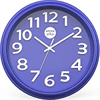 "Office + Style 13"" Silent Quartz Color Wall Clock with Anti-Scratch Cover- Blueberry"