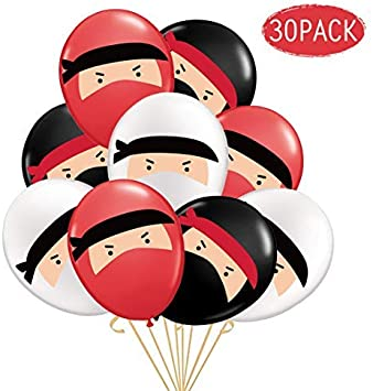 30-Pack Globos de Ninja, Globos de látex Impresos en Blanco y ...