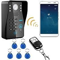 MOUNTAINONE Wireless WIFI RFID Password Video Door Phone Doorbell Intercom System Night Vision Waterproof Access Control System + wireless remote control unlock