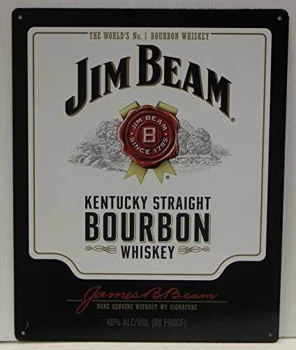Jim Beam Whiskey bottle label Metal Sign Kentucky straight bourbon whiskey Logo (Jim Beam Bottle)