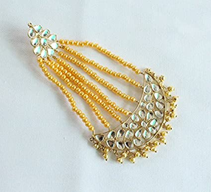 Amazon Com Gold Kundan Jadau Antique Pearl Head Passa Handmade