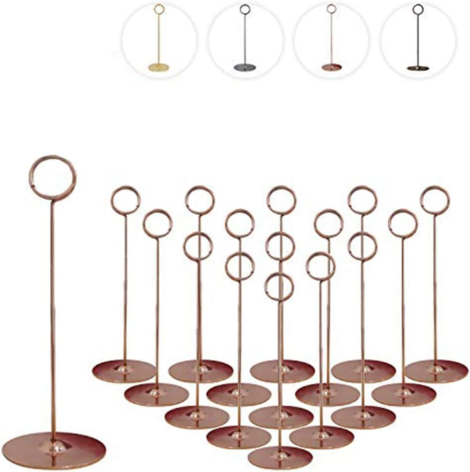 Urban Deco 16 Pieces Table Card Holder 8 inches Rose Gold Place Steel Card Holders for Photos, Food Signs, Memo Notes, Weddings, Restaurants, Birthdays.