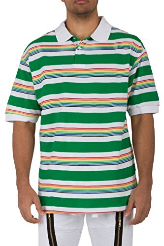 Vibes Gold Label Mens Yarn Dye Rainbow Stripe Short Sleeve Pique Polo Shirt White Rib Collar & Cuff Relax Fit Size XL Yarn Dye Pique Polo