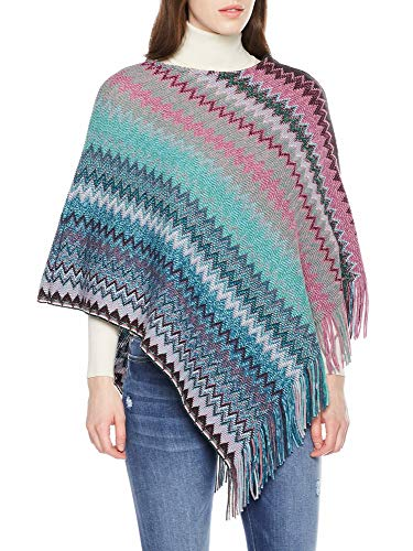 Spicy Sandia Ponchos for Women Fringe Zig Zag Knit Poncho Sleeveless Pullover Soft Wrap, Green/Purple ()