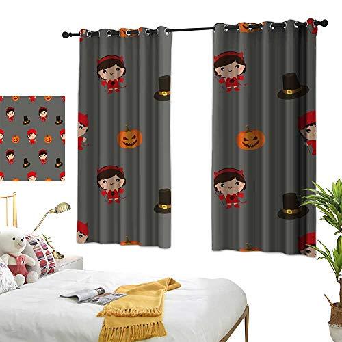 (wwwhsl Cloth Curtain Halloween Pattern Kid Costume Pattern Blackout Living Room/Bedroom Window Curtains W62.9)