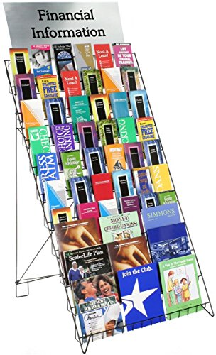Floor Standing Magazine - Displays2go Wire Display Rack for Books, Magazines and CDs, 29-Inch Wide Floor-Standing Fixture with 10 Display Tiers, Black (WRF10T29)