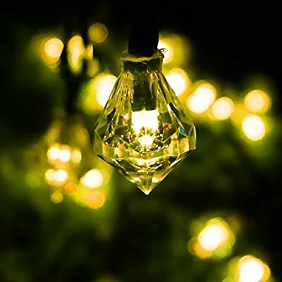 LED SopoTek 4.8meters 20Led bulbs 8Modes Solar powered Christmas Lights Diamond Shaped Globe Lighting Waterproof Outdoor Lights solar Fairy String Lights Ideal for Patio Garden Lawn Gate Yard (20LED Yellow/warm white)