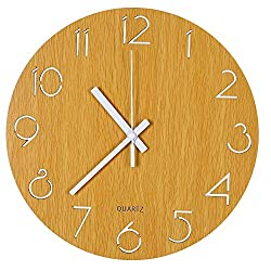 Tiords 12 inch Wooden Indoor Silent Sweeping Quartz Round Decorative Non-Ticking Battery Operated Wall Clock, Wood Color