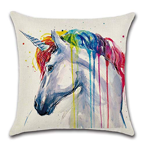 Textong Flax Linen Healthy Hand-Painted Cotton Rainbow Animal Zebra Elephant Unicorn Wolf Bird Pillow Cases 18x18 (UNICRON)