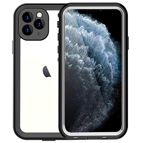 iPhone 11 Pro Waterproof Case, Clear Full Body Rugged Cell Phone Cases, Built in Screen Protector Shockproof Drop Protection Cover for iPhone 11 2019 5.8 Inch (Black)
