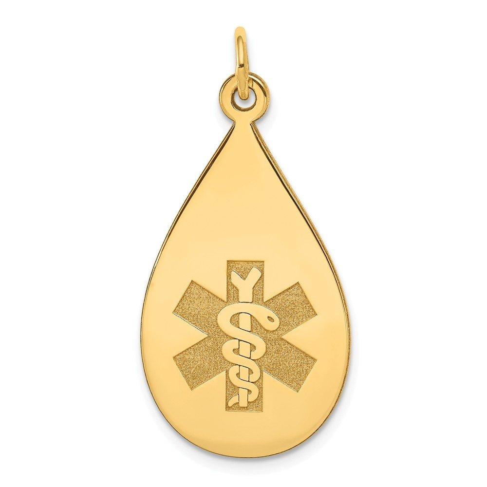 Mia Diamonds 14k Yellow Gold Medical Jewelry Unenameled Pendant