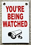 """1 Pc Worthy Popular You're Being Watched Yard Signs Coroplast 24Hr Declare Protection Size 8"""" x 12"""" White with Grommets"""