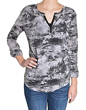 Womens Long Sleeve Roll Tab V-Neck Tee