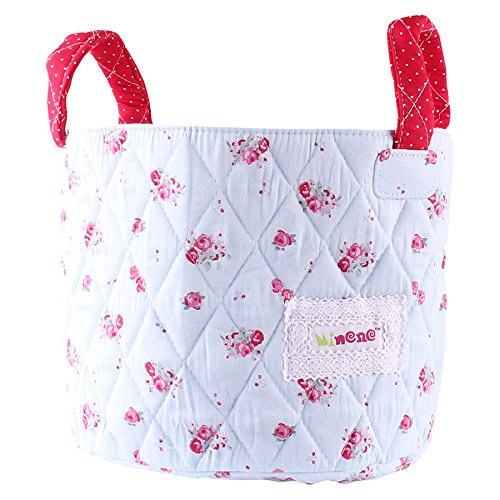 Minene Small Blue with Red Flowers Fabric Storage Basket Organiser with Handles 18x22cm 21130