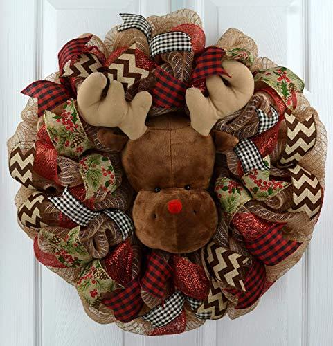 Reindeer Wreath | Red and Burlap Christmas Wreath | Rustic Front Door Wreath; Jute