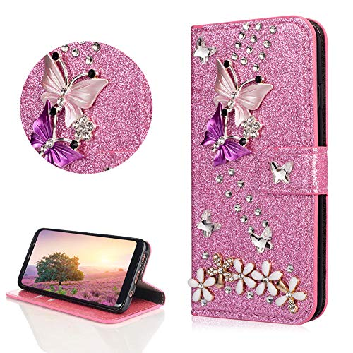 - Crystal Diamond Glitter Leather Wallet Case for Samsung Galaxy A8 Plus 2018,DasKAn Butterfly Flower 3D Rhinestone Folio Flip Cover with Card Holder Magnetic Closure Stand Protective Phone Case,Pink