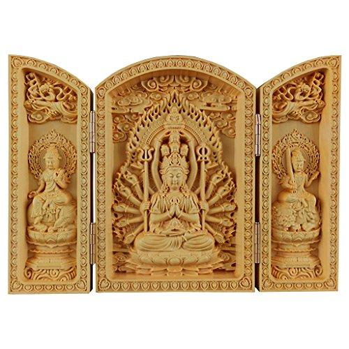 (QHYT Buddha Statue Carving Locker Box, Avalokitesvara Sculpture Decoration Made of Boxwood, Golden)