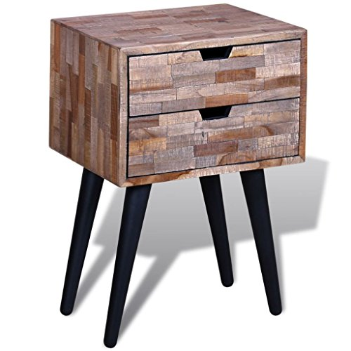 vidaXL Reclaimed Teak Wood Bedside Cabinet 2 Drawer Side Console Table - Teak Console Wood Table