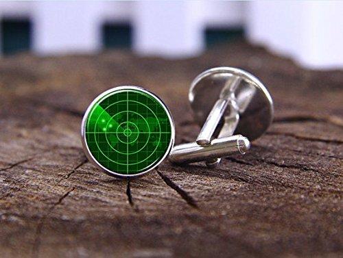 Radar Screen Cufflinks, Navy Ship Radar, Round 16mm Men Gifts, Sailors Wedding Groomsmen Team Cuff Link, Wedding Cufflinks, Custom (Radar Screen)