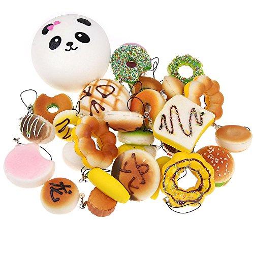 EVINIS 20Pcs Jumbo Medium Mini Random Squishy Soft Panda/Bread/Cake/Buns Phone Straps (20 Pcs) by EVINIS (Image #2)