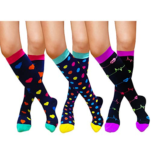 Compression Socks For Women Men 20-30mmHg-1/3 Pairs Best Medical, Nursing, Travel & Flight Socks (L/XL, STYLE3)