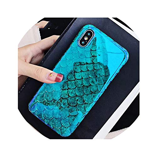 (Blu-Ray Phone Case for iPhone Xs XR XS Max X 8 7 6 6S Plus Laser Blue Fish Scale Soft IMD Retro Phone Back Cover Cases,for iPhone 8)