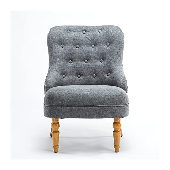 Magshion Elegant Upholstered Fabric Club Chair Accent Chair W/Ottoman Living Room Set (Grey) - With its wide stance and soft padding, the Magshion Tufted Fabric Chair & Footrest Set combines contemporary and traditional elements to create one stunning set. The chair features linen upholstery with tufted back and natural color stained legs. Magshion is sure to bring a class to your living room, bedroom or office. Tall curved backrest will supply seating in an upright position to encourage good posture - living-room-furniture, living-room, accent-chairs - 51sZPo5kaxL. SS570  -