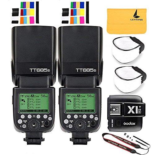 Godox TT685S TTL 2X Camera Flash High Speed 1/8000s GN60 for Sony DSLR Cameras X1T-S I-TTL 2.4G Wireless Flash Trigger Transmitter for Sony DSLR Cameras with MI Shoe (TT685S+X1T-S)