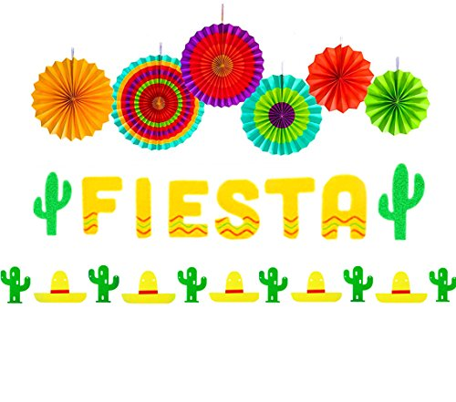 Set of 3 JeVenis Fiesta Banner Cactus Garlands Cinco De Mayo Banners Fiesta Party Decorations for Wedding Birthday Baby Shower Party]()