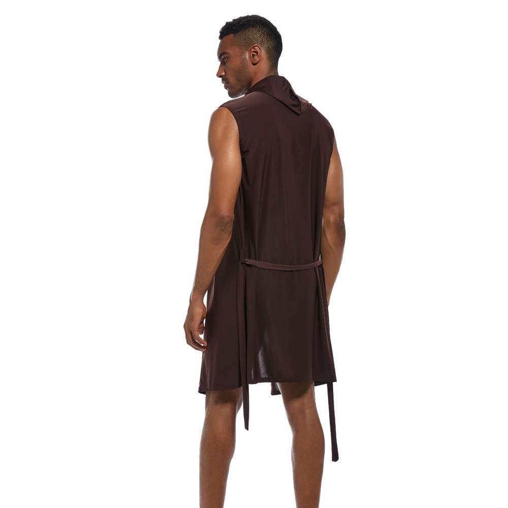 Linlink Mens New Fashionable Sexy Underwear Bathrobe Nightgown Pure Cap Blouse Top Bata De BañO De Ropa Interior Sexy para Hombre.