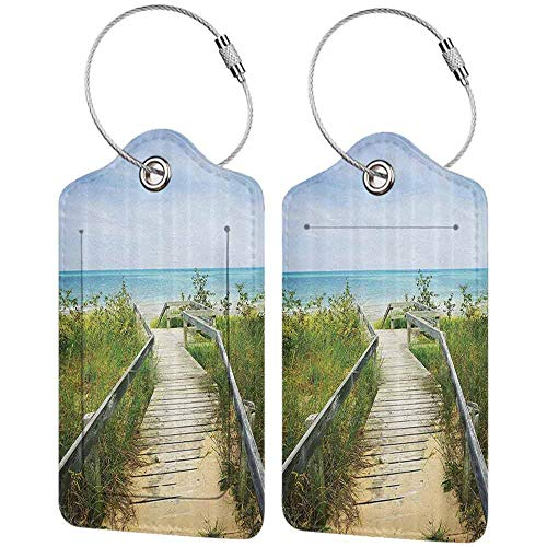 Soft luggage tag Seaside Decor Collection Boardwalk over Dunes at Beach Pinery and Provincial Park Ontario Canada Holidays Picture Bendable Green Ivory W2.7