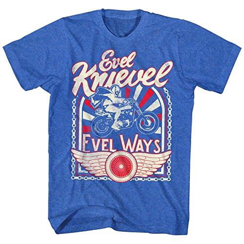 Evel Knievel - Mens Evel Ways 2 T-Shirt, Size: XX-Large, Color: Retro Royal Heather